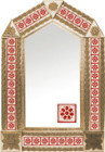 tin mirror with copper frame and manufactured tile