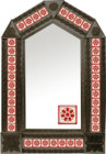 tin mirror with coffee arch frame and manufactured tile