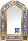 tin mirror with copper frame and fabricated tile