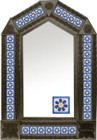tin mirror with coffee arch frame and fabricated tile