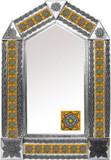 tin mirror with produced tiles