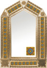 tin mirror with copper frame and produced tile
