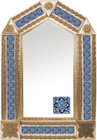 tin mirror with copper frame and handcrafted tile