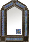 tin mirror with coffee arch frame and handcrafted tile