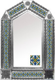 tin mirror with artisan made tiles