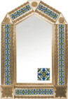 tin mirror with copper frame and artisan made tile