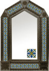 tin mirror with coffee arch frame and artisan made tile