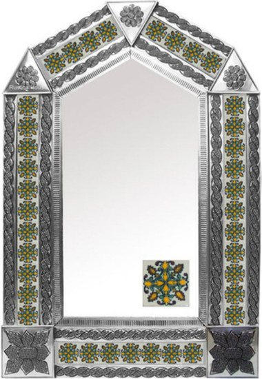tin mirror with hand crafted tiles