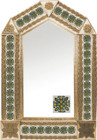 tin mirror with copper frame and hand crafted tile