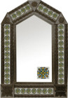tin mirror with coffee arch frame and hand crafted tile