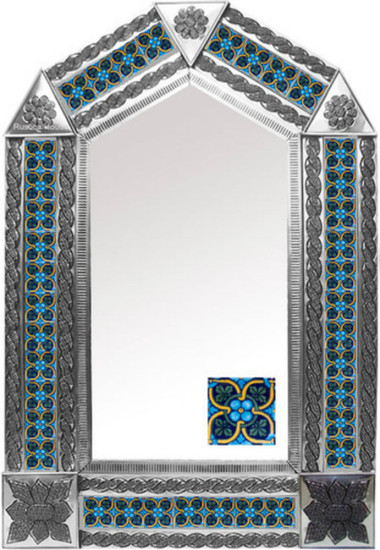 tin mirror with hand punched tiles