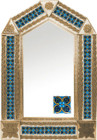 tin mirror with copper frame and hand punched tile