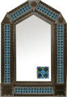 tin mirror with coffee arch frame and hand punched tile