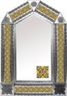 tin mirror with handmade tiles