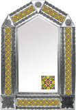 tin mirror with handmade tiles