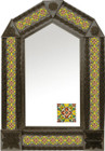 tin mirror with coffee arch frame and handmade tile