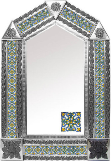 tin mirror with old world tiles
