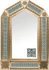 tin mirror with copper frame and old world tile