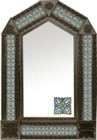 tin mirror with coffee arch frame and old world tile
