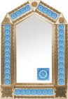 tin mirror with copper frame and classic colonial tile
