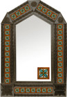 tin mirror with coffee arch frame and Guanajuato tile