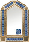 tin mirror with copper frame and colonial hacienda tile