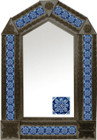 tin mirror with coffee arch frame and colonial hacienda tile