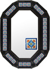 octagonal metal tin frame decorated with mexican handcrafted tile