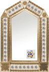 tin mirror with copper frame and Spanish tile