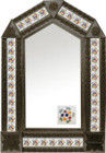 tin mirror with coffee arch frame and Spanish tile
