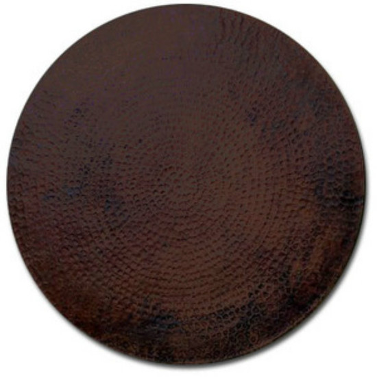 round hammered copper table top