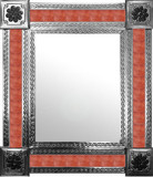 mexican wall mirror with handmade tiles