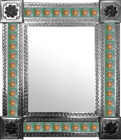 mexican wall mirror with produced tiles