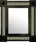 produced mexican wall mirror with tiles