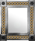 mexican wall mirror with handcrafted tiles