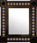 individually made mexican wall mirror with tiles