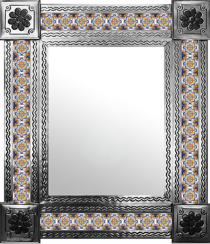 mexican wall mirror with hand punched tiles