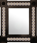 hand punched mexican wall mirror with tiles