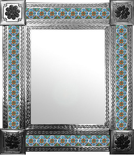 mexican wall mirror with San Miguel tiles