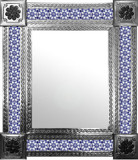 mexican wall mirror with colonial tiles