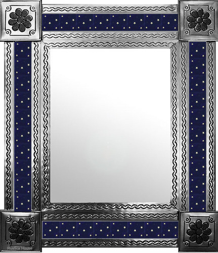 mexican wall mirror with rustic tiles