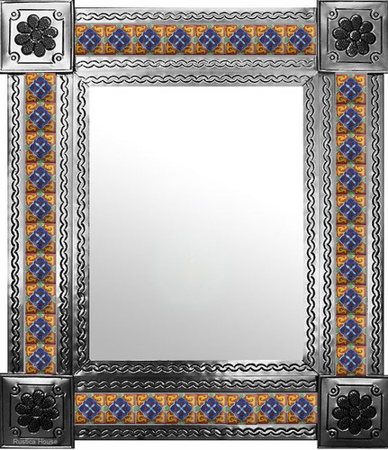 mexican wall mirror with classic colonial tiles