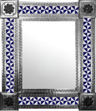 mexican wall mirror with colonial hacienda tiles