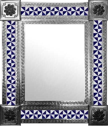mexican wall mirror with colonial hacienda tiles
