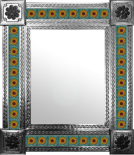mexican wall mirror with Spanish tiles