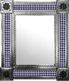 mexican wall mirror with modern tiles