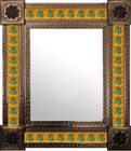 European mexican wall mirror with tiles