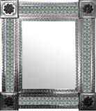 mexican mirror with colonial hacienda tiles