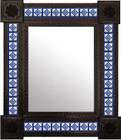 mexican mirror from tin and tiles with dark frame