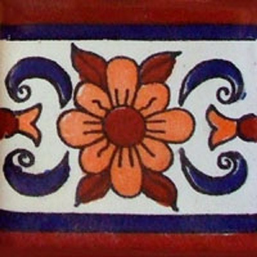mexican stair rise tile white terracotta blue